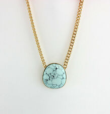 14K Gold Plated Blue Turquoise Disc Chain Pendent necklace XL1048