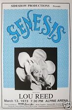 GENESIS / LOU REED 1973 CONCERT TOUR POSTER -Peter Gabriel Wearing Flower Outfit