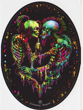 SKELETON PUNK LOVERS SKULL MULTI COLOURED MOHAWK GOTHIC VINYL STICKER A6 OVAL