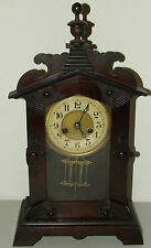 Antique Working 19th C. JUNGHANS Gothic Walnut German Parlor Mantel Shelf Clock