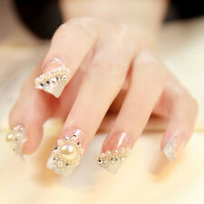 24Pcs Wedding 3D False Artificial Fake Nails Tips FASHION Pearl Finger Gril