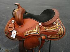 15 16 17 BARREL RACING SHOW REINING PLEASURE TOOLED LEATHER WESTERN HORSE SADDLE