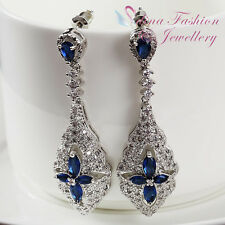 18K White Gold Filled Swarovski Crystal Luxury Hollow-out Flower Evening Earring