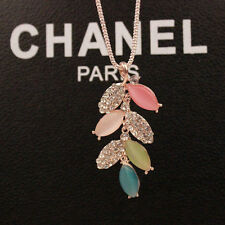 Women Colorful Tree Leaves Crystal Gemstone Long Chain Sweather Pendant Necklace