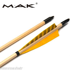 12X80cm Wooden Arrows Spine 20-70lbs Traditional Long Bow Archery True Feathers