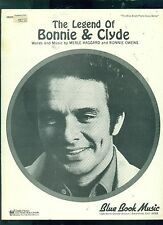"MERLE HAGGARD ""THE LEGEND OF BONNIE & CLYDE"" P/V/GUITAR SHEET MUSIC 1968 RARE!"
