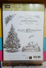 NEW Retired Stampin Up Clear Mount Set CHRISTMAS LODGE Tree Sentiments Cabin