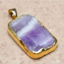 "Purple Amethyst Natural Gemstone Jasper 24K .9999 Yellow gold 1.75"" Pendant #003"