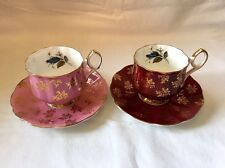 "Taylor And Kent ""Elizabethan"" Vintage Tea Cups And Saucers 4 pieces"