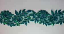 "Handmade Embroidered Corded Beaded Edging Motifs Trim 3 "" width M Teal #15"