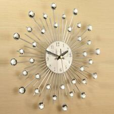 33cm Handcrafted Clear Diamante Beaded Jeweled Sunburst Silver Metal Wall Clock