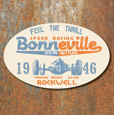 Bonneville Salt Flats Speed Racing Aged Worn Look Laminated Sticker 130x80mm