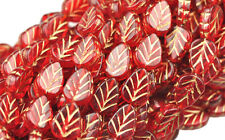 25 RED WITH GOLD INLAY CZECH GLASS LEAF BEADS 10MM