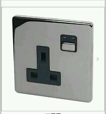 Siemens/JSJS LightwaveRF Socket Switch 1 Gang 13Amp Black Nickel. App/Web NEW