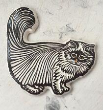 Vintage Pottery Fluffy Persian Cat Wall Plaque Trivet Retro