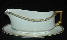 HEINRICH H&C H & CO FINE CHINA GRAVY BOAT WITH ATTACHED PLATE CLARIDGE PATTERN