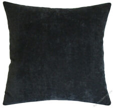 Graphite Gray Velvet Solid Decorative Throw Pillow Cover / Cushion Cover /20x20""