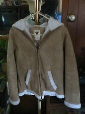 SEVENTY SEVEN 77 BEIGE WHITE FAUX FUR SUEDE ZIP HOODIE GIRL JACKET COAT Sz Small