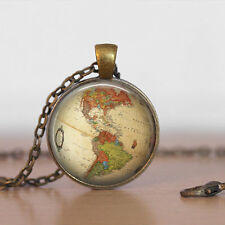 Vintage world map Cabochon Bronze Glass Chain Pendant Necklace fz#05
