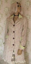 Rare! BOUTIQUE Vtg Dusky Pink Green Rose Floral Brocade Jacquard Tapestry Coat S