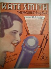"1933 Kate Smith ""Memories"" Song Book Robbins Music Corp   VG 1216SM"
