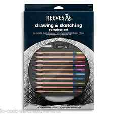 REEVES ARTIST DRAWING & SKETCHING GRAPHITE & COLOUR PENCIL COMPLETE SET