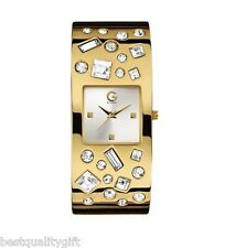 NEW-G BY GUESS GOLD TONE S/STEEL+CRYSTAL GEMSTONE SPRING CUFF WATCH G99036L2