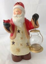 Santa Claus Holding Lantern Red Bird Votive Candle Holder w Cut Out Stars