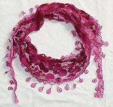 Tuch Halstuch  rosa pink, Vintage-Spitze, Dreieckstuch Stola Schal Häkel-Bommeln