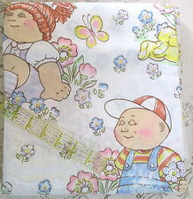 Vtg 80s Cabbage Patch Doll TWIN sheet set fitted flat pillowcase & RUG mat NEW