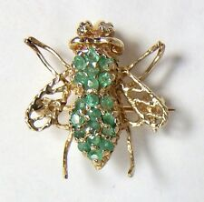 Emerald Diamond Eyes 10k Yellow Gold Honey Bee Fly Bug Pendant Pin Brooch 2.3g