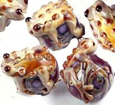 LAMPWORK Handmade Glass Frog Hug Ball Red Taffy Swirl Beads (6)