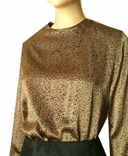 Ann May Blouse NEW 100% Liquid Silk - sz M L $155 FLECKED BROWN on GOLD