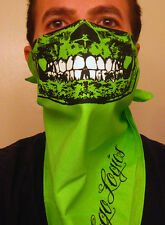 NEON GANJA GREEN SKULL BANDANA MASK SKI SNOW WEED SAFETY DAY GLOW RAVE BEL AIR