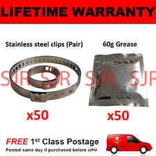 CV BOOT CLAMPS PAIR INNER & OUTER x50 CV GREASE x50 GARAGE TRADE PACK KIT 2.50