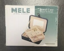NEW MELE BLACK JEWEL CASE WITH RING ROLL/BOX AND WINDOW TOP