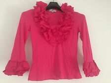 BRIGHT PINK COTTONADE JERSEY RUFFLE FRILLY 3/4 SLEEVE TOP BLOUSE SWEATER 3