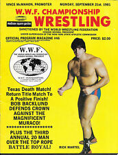 Sept 21 1981 WWE/WWF Wrestling Program MSG Rick Martel cover