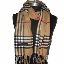 "New Fashion 100% Cashmere Scarf Camel Check Plaid Scotland Wool Wrap ""Bm07"""