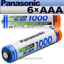 """""""6x Panasonic AKKU MICRO AAA 1000mAh HR03 BK-4HGAE"""
