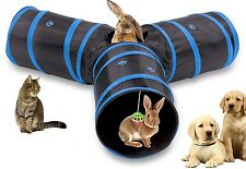 Cat Tunnel Collapsible 3 Way Play Toy Tube Fun Pet Rabbits Kittens Dogs Foldable