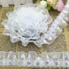 New 5 yards 2-Layer 30mm White Organza Lace Gathered Pleated Sequined Trim Sy52