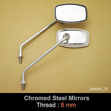 Hodaka Rectangle Chrome Steel Metal Mirror Vintage Classic 8mm Pair NEW