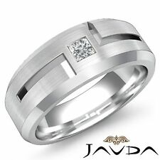 Solitaire Diamond Mens Half Wedding Band 14k White Gold Princess Cut Ring 0.15Ct