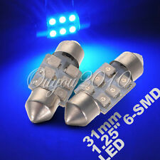 "2X BOMBILLAS LED COCHE FESTOON C5W 31mm 1.25"" 1210 6 SMD LED COLOR AZUL 12V 180°"