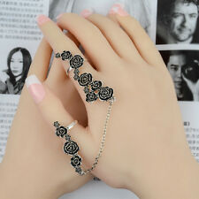 Special Lady 3D Rose flower Link Chain Finger Ring Stack Knuckle Rings Set