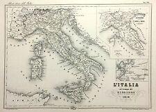 1868 CARTA GEOGRAFICA VALLARDI CARTA D'ITALIA AL TEMPO DI NAPOLEONE 1810