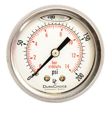 "2"" Liquid Filled Pressure Gauges - 1/4"" NPT Center Back Mount 200PSI"