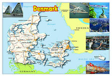 DENMARK Map Poster Wall chart - A3 size - educational- teaching - school type