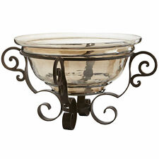 Tuscan Decorative Large Bowl with Stand Amber Canterpiece Glass Wrought Iron New